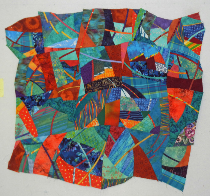 Improvisational piecing with Ellen Lindner. AdventureQuilter.com