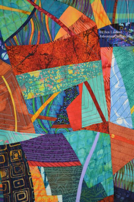 In the Moment - detail, an art quilt by Ellen Lindner. AdventureQuilter.com